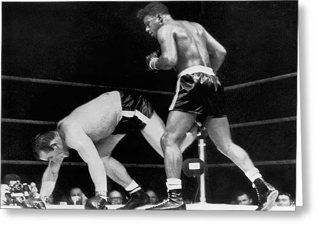 Boxer Shorts Greeting Cards - Patterson Beats Johansson Greeting Card by Underwood Archives