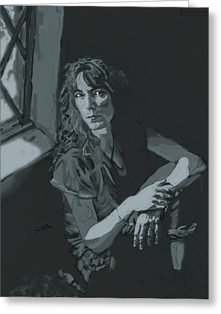 Singer Songwriter Drawings Greeting Cards - Patti Smith Greeting Card by Suzanne Gee