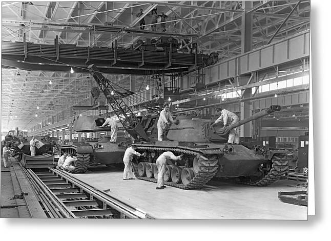 Patton Tank Assembly Line Greeting Card by Underwood Archives