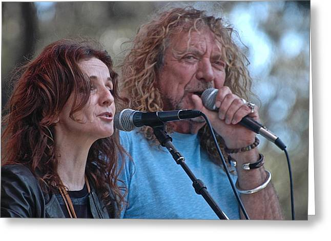 Live Art Greeting Cards - Patty Griffin and Robert Plant Greeting Card by Debra Amerson