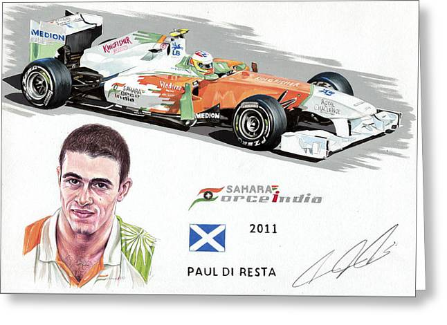 Autograph Paintings Greeting Cards - Paul Di Resta 2011 Greeting Card by Karl Hamilton-Cox