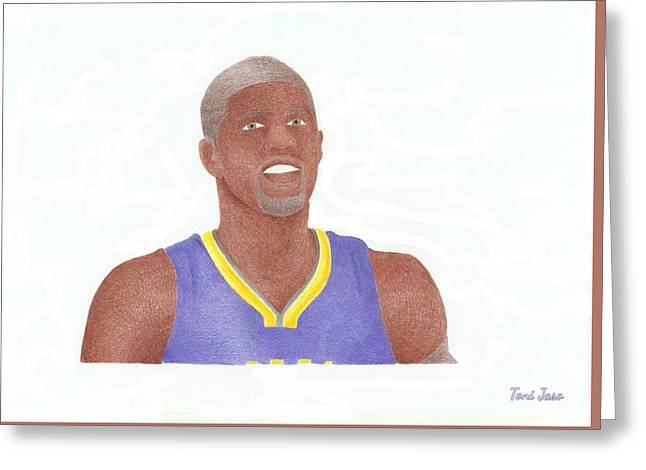 Slam Drawings Greeting Cards - Paul George Greeting Card by Toni Jaso