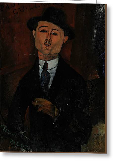 20th Greeting Cards - Paul Guillaume Novo Pilota Greeting Card by Amedeo Modigliani