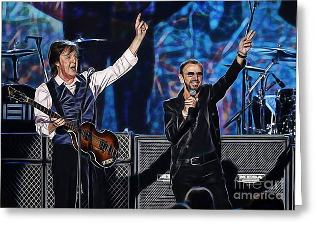 Musician Greeting Cards - Paul McCartney and Ringo Star Collection Greeting Card by Marvin Blaine