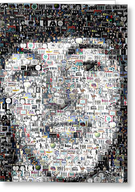 Ringo Starr Digital Greeting Cards - Paul McCartney Beatles Mosaic Greeting Card by Paul Van Scott