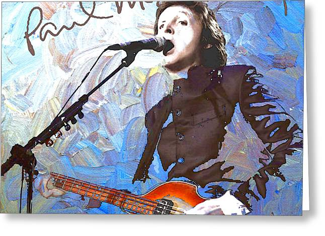 British Celebrities Greeting Cards - Paul McCartney One Greeting Card by Linda Mears
