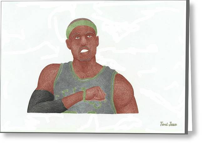 Boston Celtics Drawings Greeting Cards - Paul Pierce  Greeting Card by Toni Jaso