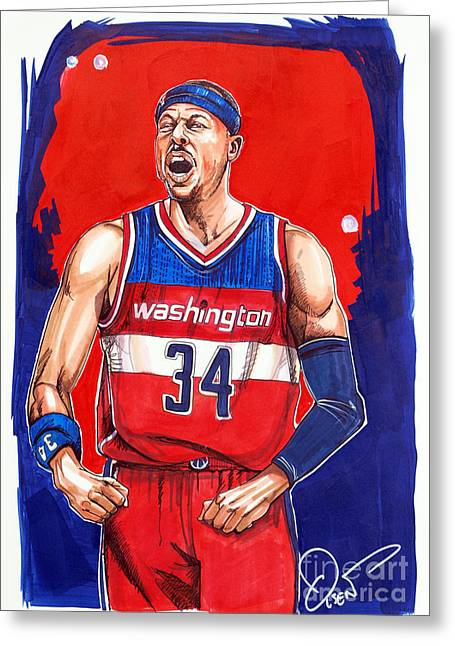 Wizard Drawings Greeting Cards - Paul Pierce Washington Wizards Greeting Card by Dave Olsen