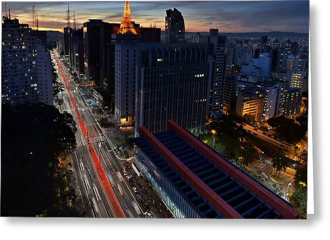 Por Greeting Cards - Paulista Avenue at Dusk - Sao Paulo - MASP and Towers Greeting Card by Carlos Alkmin