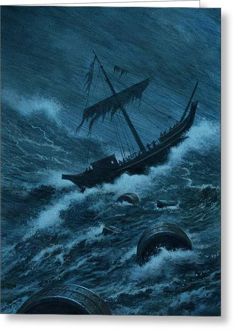 Wooden Ship Drawings Greeting Cards - Pauls Storm Tossed Ship Greeting Card by Rob Wood