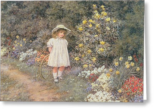 Hoop Greeting Cards - Pause for Reflection Greeting Card by Helen Allingham