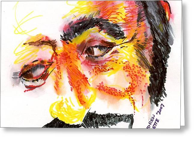 Pavarotti Greeting Cards - Pavarotti Sketch No. 1 Greeting Card by Andrew Gillette