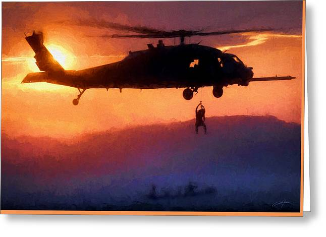 Helo Greeting Cards - Pavehawk Rescue Greeting Card by Dale Jackson