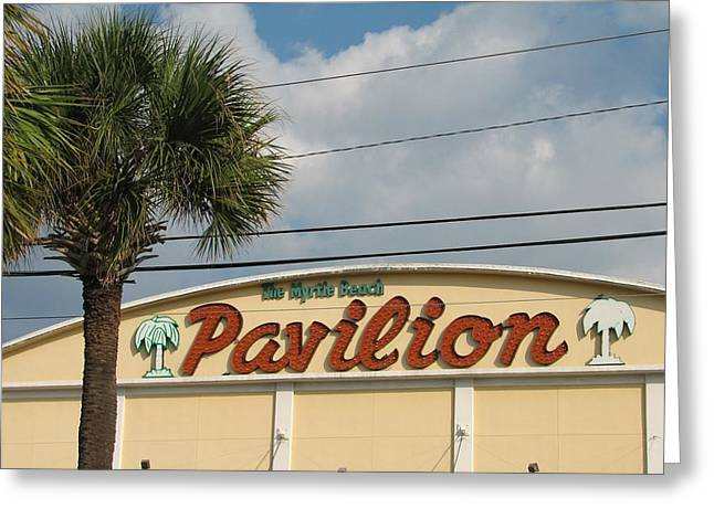 Pavilion Greeting Cards - Pavilion with Palm Greeting Card by Kelly Mezzapelle
