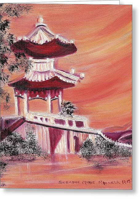 Suzanne Marie Molleur Paintings Greeting Cards - Pavillion in China Greeting Card by Suzanne  Marie Leclair