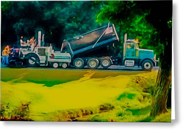 Recently Sold -  - Black Top Greeting Cards - Paving Crew 2 Greeting Card by Lanjee Chee