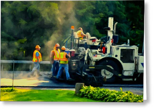 Recently Sold -  - Black Top Greeting Cards - Paving Crew Greeting Card by Lanjee Chee