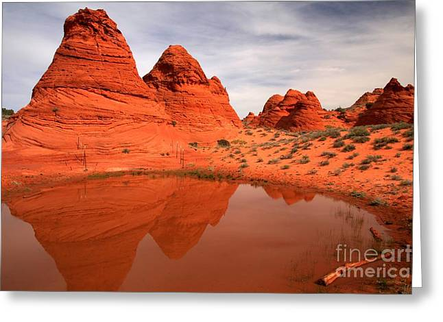 Holes In Sandstone Greeting Cards - Paw Hole Buttes Greeting Card by Adam Jewell