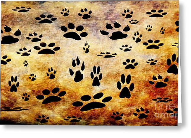 Animal Paw Print Greeting Cards - Paw Prints Greeting Card by Andee Design
