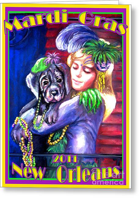 Puppies Pastels Greeting Cards - Pawdi Gras Greeting Card by Beverly Boulet