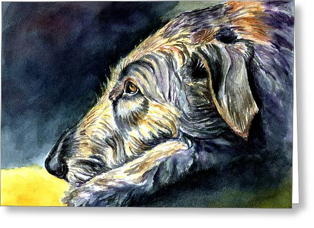 Puppies Paintings Greeting Cards - Paws to Reflect Irish Wolfhound Greeting Card by Lyn Cook
