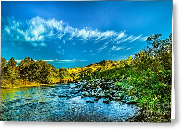 Haybale Greeting Cards - Payette River In HDR Greeting Card by Robert Bales