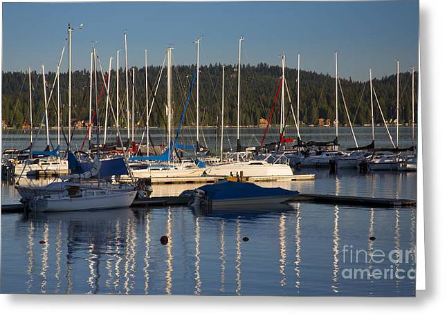 Docked Sailboats Greeting Cards - Payette Sailboats Greeting Card by Idaho Scenic Images Linda Lantzy