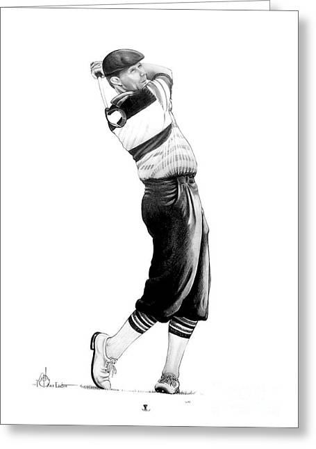 Golf Drawings Greeting Cards - Payne Stewart Greeting Card by Murphy Elliott