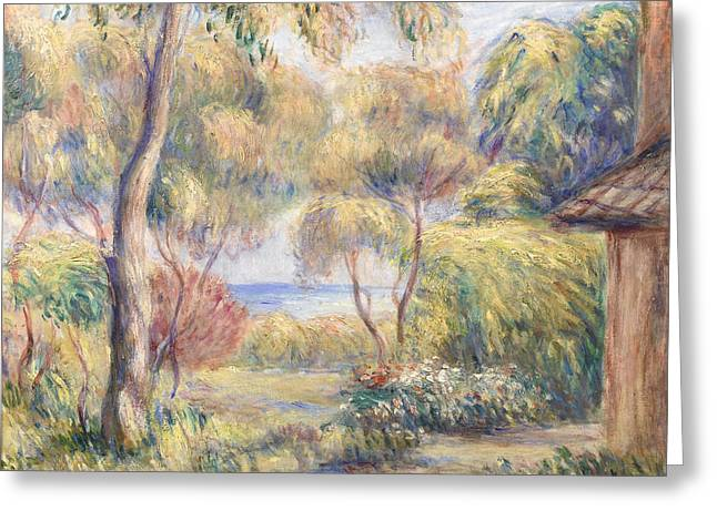 Renoir Greeting Cards - Paysage a Cagnes Greeting Card by Auguste Renoir