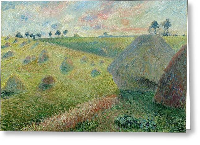 Paysage Avec Meules Greeting Card by Camille Pissarro
