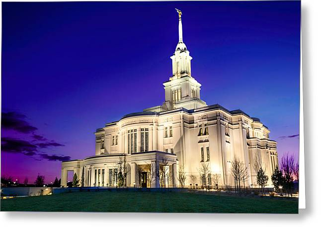 Utah Pyrography Greeting Cards - Payson Temple at Dusk Greeting Card by Tausha Schumann Coates