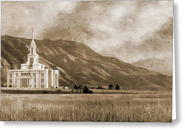 Utah Pyrography Greeting Cards - Payson Temple in Sepia Greeting Card by Tausha Schumann Coates