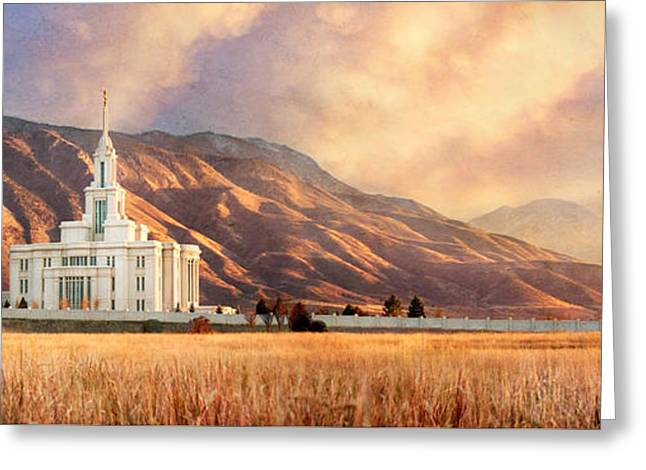 Utah Pyrography Greeting Cards - Payson Temple with Field Greeting Card by Tausha Schumann