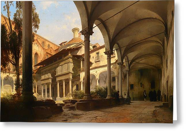 Catholic work Paintings Greeting Cards - Pazzi Chapel in Church of Santa Croce in Florence Greeting Card by Carl Graeb