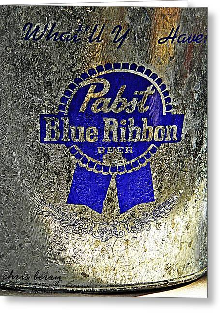 Pbr  Bucket O Beer  Greeting Card by Chris Berry