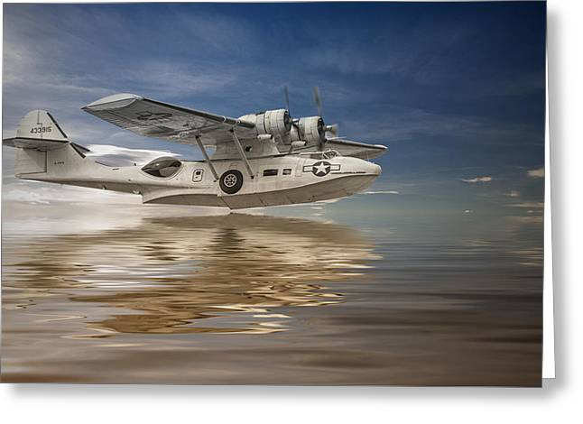 Pby Catalina Greeting Cards - PBY Catalina Low Pass Greeting Card by Rob Lester Wirral