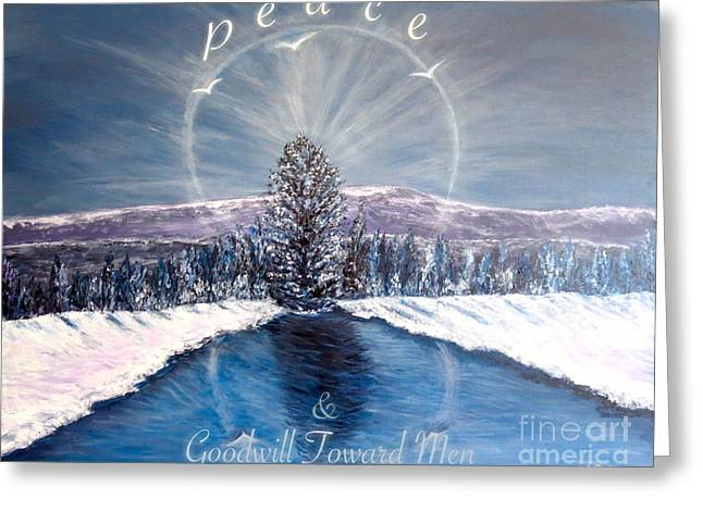 Peace And Goodwill Toward Men With Quote Greeting Card by Kimberlee Baxter