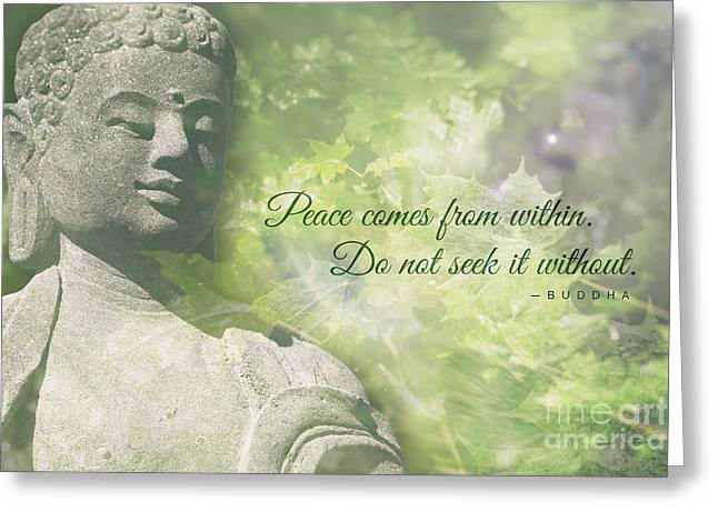 Tibetan Buddhism Greeting Cards - Peace Comes from Within Greeting Card by Jamie Tipton