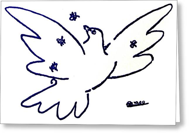 Pablo Picasso Paintings Greeting Cards - Peace Dove Serigraph in Blue as a tribute to Pablo Picassos Lithograph of Love Bird with Flowers Greeting Card by M Zimmerman