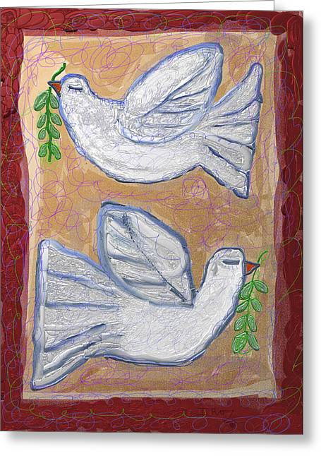Purim Greeting Cards - Peace Doves Greeting Card by Ian Roz