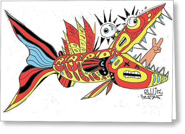 Rwjr Greeting Cards - Peace Funky Folk Fish Greeting Card by Robert Wolverton Jr