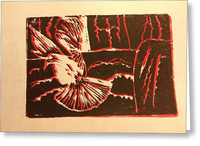 Linocut Paintings Greeting Cards - Peace in Mideast Greeting Card by Toby Finkelstein
