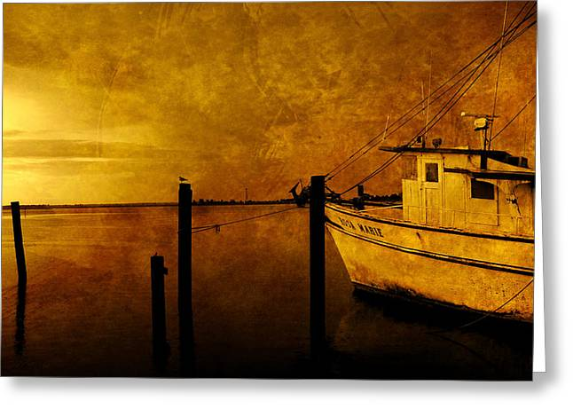 Apalachicola Shrimper Greeting Cards - Peace in the harbor Greeting Card by Susanne Van Hulst
