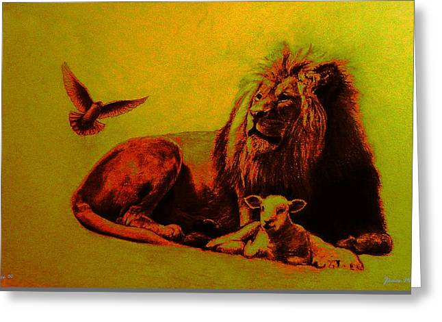 Lion And Lamb Greeting Cards - Peace  Greeting Card by James Berger