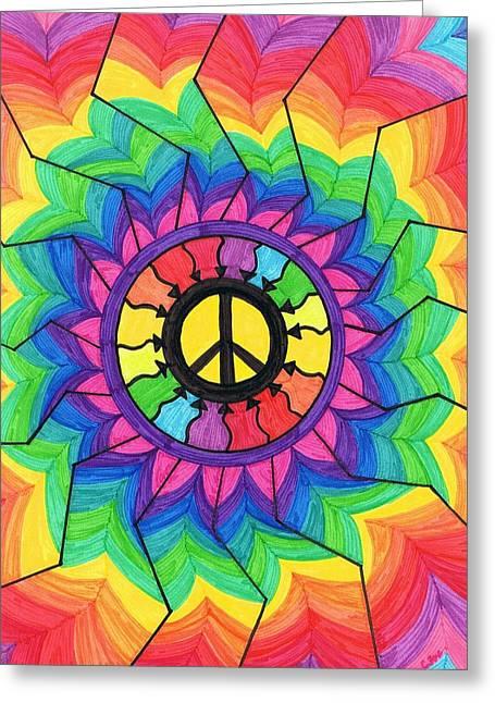 Chakra Rainbow Paintings Greeting Cards - Peace Mandala Greeting Card by Cheryl Fox