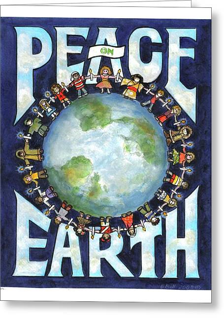 Wishes Greeting Cards - Peace on Earth Greeting Card by Barbara Bell