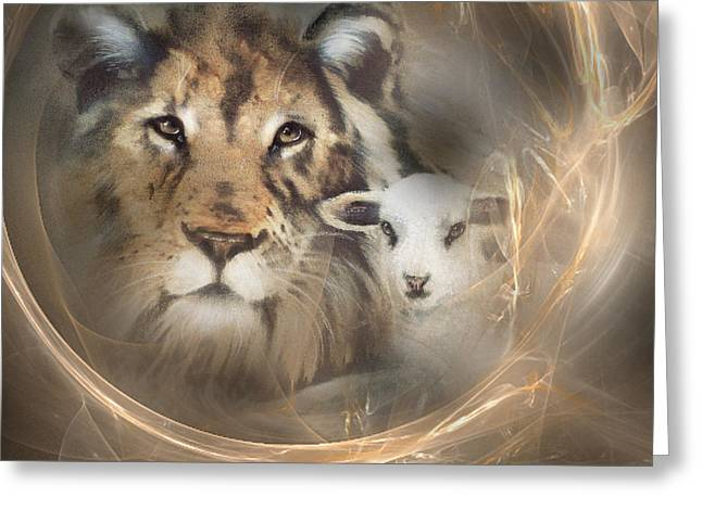 Recently Sold -  - Lions Greeting Cards - Peace on Earth Greeting Card by Jackie Flaten