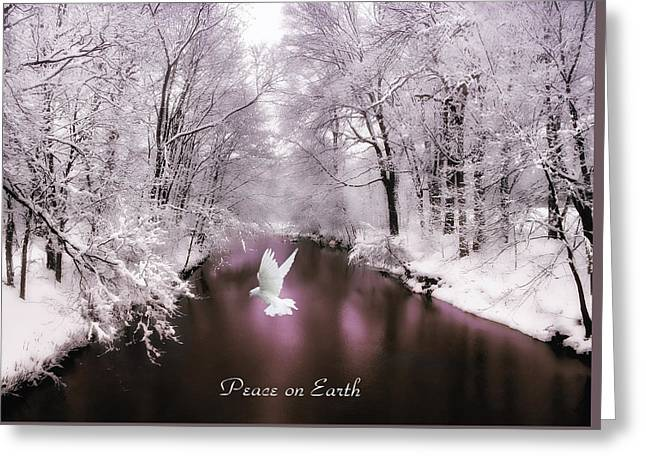 Bird On Tree Greeting Cards - Peace on Earth with text Greeting Card by Jessica Jenney