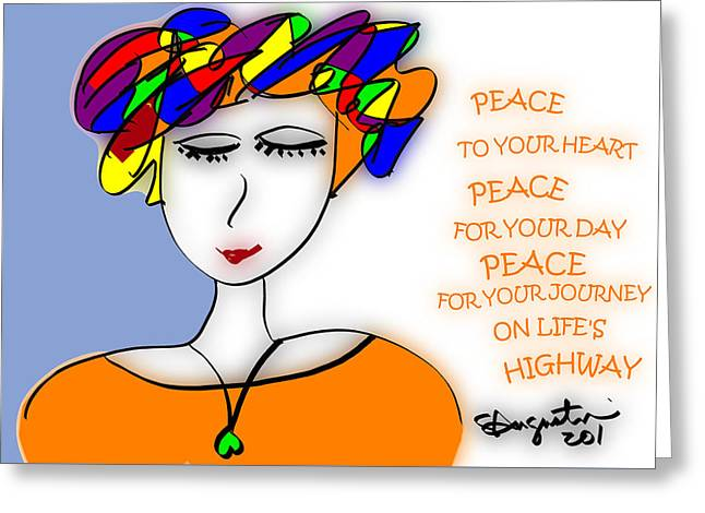 Peace On Life's Highway Greeting Card by Sharon Augustin