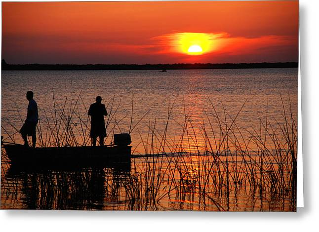 Landscape At Sunset Greeting Cards - Peace over the water Greeting Card by Susanne Van Hulst